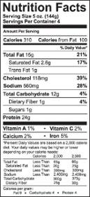 Etichetta di fatti di nutrizione