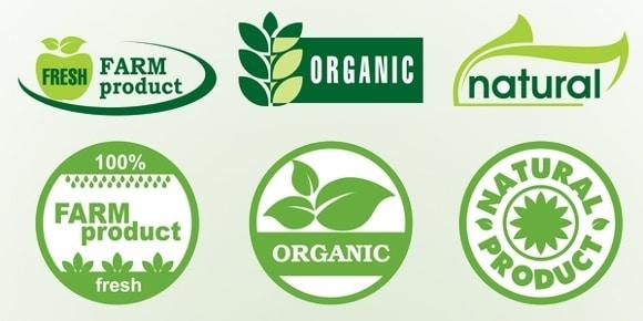 Etichette di prodotti biologici naturali e freschi di fattoria
