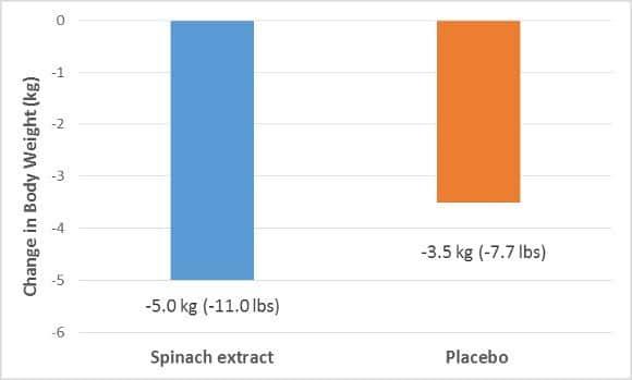 Grafico di perdita di peso dell'estratto di spinaci