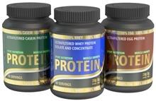 Tre tipi di proteine in polvere